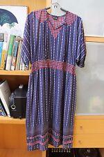 Diane Fres vintage light georgette navy blue red dress dolman sleeve L