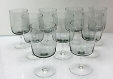 9 Vintage Fine Crystal SMOKE GRAY WINE GLASSES Thin Clear Smooth Stem 4 3/4""