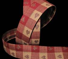 5 Yards Christmas Love Hearts Country Rustic Red Plaid Homespun Craft Ribbon 1 5