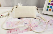 New Women PU Leather Crossbody Satchel Tote Clutch Shoulder Bag Handbag White D