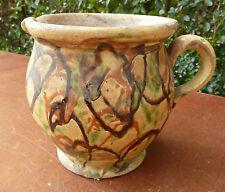 Ancien petit pot à crème en terre vernissé, art populaire de Savoie