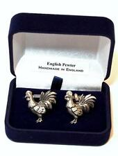 Cockrel Bird Cufflinks in Fine English Pewter, Handmade, Gift Boxed (H) chicken