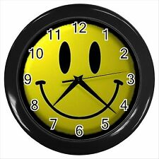 NEW* HOT SMILEY FACE  Black Wall Clock Decor Gift