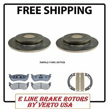 Complete Set Of 2 Rear  Brake Rotors , Pads & Emergency Brake Shoes For Ford
