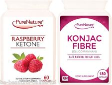 60 Pure Raspberry Ketones & 180 Konjac Glucomannan Ultra Strong Diet Slim Pills