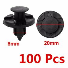 100x 8 mm Hole Black Plastic Rivet Fastener Push Clips for Car Auto trunk Fender