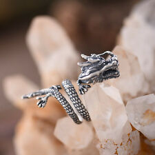 New Mens Jewelry Chinese Dragon Solid 925 Sterling Silver Ring Adjustable