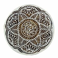 Floral Stamp Indian Hand Carved Brown Printing Block Art Wooden Textile Stamp