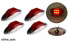 4x 6 LED Red clear side chrome marker lights lamps for trailer truck 24 Volts