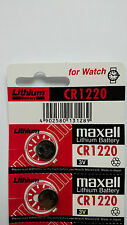 2 NEW CR1220 MAXELL 3V BATTERY - Free Shipping Worldwide - Expiration Year: 2026