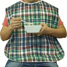 """Extra Wide Adult Bib with Waterproof Vinyl Backing and Snap Closure - """"22 X""""32"""
