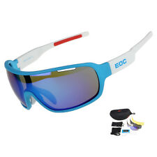 EOC Polarized Cycling Glasses Bike Goggles Bicycle Sunglasses UV400 3 Lens Blue