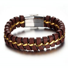 Stainless Steel Leather Bracelet Bangle Wrist Chain, Gold, Brown, KR7765