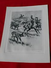 Vintage Signed R H Palenske Litho-Etching West Cattle Calf Drive 'Lost Your Ma?'