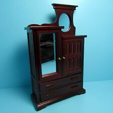 Dollhouse Miniature Gorgeous Wood Dresser with Upper Cabinet & Mirror ~ T3467