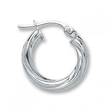 Solid 9ct White Gold Round Twisted Tube 14mm Creole Hoops Earrings Gift Boxed