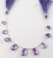 1 Strand Natural Purple Amethyst Pear Briolette Faceted Handmade Drilled Beads
