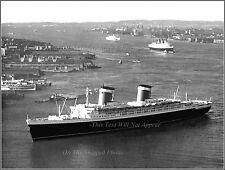 Photo: SS United States & The RMS Queen Mary - Riband Winners On The Hudson, NY