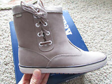 NEW KEDS SUNNYSIDE LEATHER ANKLE BOOTS WOMENS 7 GREY/TAN SUEDE SHEARLING WH45119