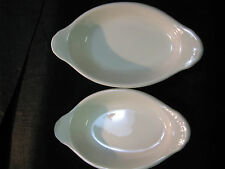 """Two oval Hall serving/au gratin dishes, brown and white,8x4x1.25"""", FB10"""