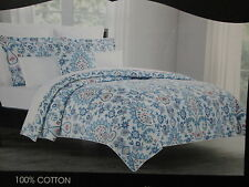 Cynthia Rowley Cotton Full/Queen Duvet Cover Set ~ Flower/Paisley ~ Blue, Orange