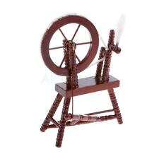 Dollhouse Miniature Sewing Room Furniture Mahogany Wood Spinning Wheel 12th