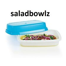 TUPPERWARE New FULL SIZE LARGE SEASON-SERVE MARINADE CONTAINER in Blue fREEsHIP!