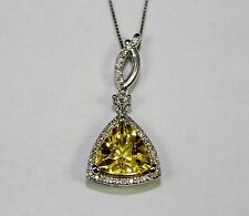 14k White Gold Yellow Trillion Cut Emerald And Diamond Pendant With Chain