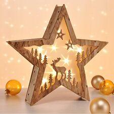 LED Fenster-Beleuchtung Holz-Stern beleuchtet Weihnachtsbeleuchtung Weihnachten