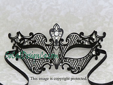Womens Black Laser Cut Venetian Masquerade Mask with Real Crystals