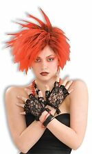 80's Style Black Lace Fingerless Punk Gloves Glovettes Adult Costume Accessory