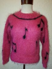 Vintage Retro 80s Bright Hot Pink Musical Note Pattern Mohair Jumper All Season