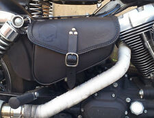 LEATHER SADDLE BAG ON BATTERY COVER FOR HARLEY DAVIDSON  DYNA ITALIAN QUALITY