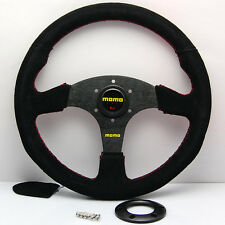 MOMO 350mm Black Suede Leather Flat Steering Wheel OMP Raceing Rally Red Stitch