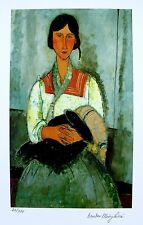 "Amedeo Modigliani ""GYPSY WOMAN WITH CHILD""  Signed Small Giclee Art"