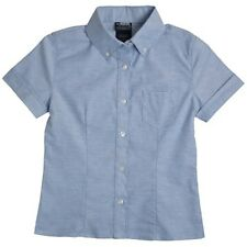 French Toast Girls School Uniform S/S Oxford Blouse Shirt with Darts Blue 4