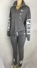 Victoria's Secret Lace Up Cuff Pant & Slouchy Quarter Zip Outfit PINK Sweats XS
