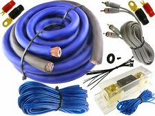 BLUE 0 GAUGE 5500 WATT CAR PRO COMPLETE AMP WIRE AMPLIFIER INSTALL KIT O GA USA