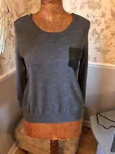 Kooples Grey Jumper With Leather Trim And Zips Size XS 8-10 Merino Wool