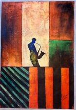 Large Hand Painted Oil Painting on Canvas of an Abstract Jazz/Music Player//