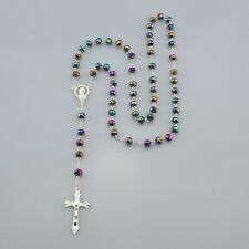 Catholic Virgin Mary Multicolored Crystal Beads Womens Silver Rosary Necklace