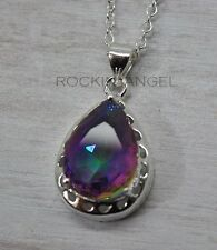 925 Silver Mystic Rainbow Topaz Teardrop Pendant Necklace, ladies gift, Crystal