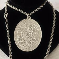 Vintage 70's Unusual STERLING SILVER Ingot Elaborate 4 Nations Necklace HM - 19g
