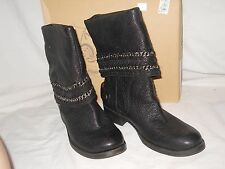 Nine West New Womens Barstool Black Leather Boots 6.5 M Shoes NWB