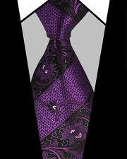 PRICED TO CLEAR!! Mens Classic Paisley Jacquard Silk Necktie Tie Purple Black