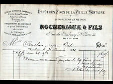 """MONTLUCON (03) QUINCAILLERIE / ZINC de LA VIEILLE MONTAGNE """"ROCHERIAUX"""" en 1888"""