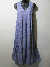 Dress Fits 1X 2X 3X Plus Sundress Purple Water Color  A Shape Cotton NWT G325