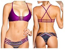 Purple Cheeky Bum Bikini MEDIUM Strappy Swimsuit Sexy Padded Brazillian Swimwear