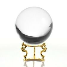 Crystal Ball Quartz Clear 5in (130mm) With Gold Dragon Stand Gift Box USA Seller