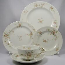 THEODORE HAVILAND Limoges France Pink Spray, Touraine Shape, 5 Pc Place Setting